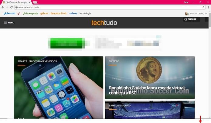 Passe o cursor na parte inferior da tela para exibir novamente a barra de tarefas (Foto: Reprodução/Taysa Coelho)