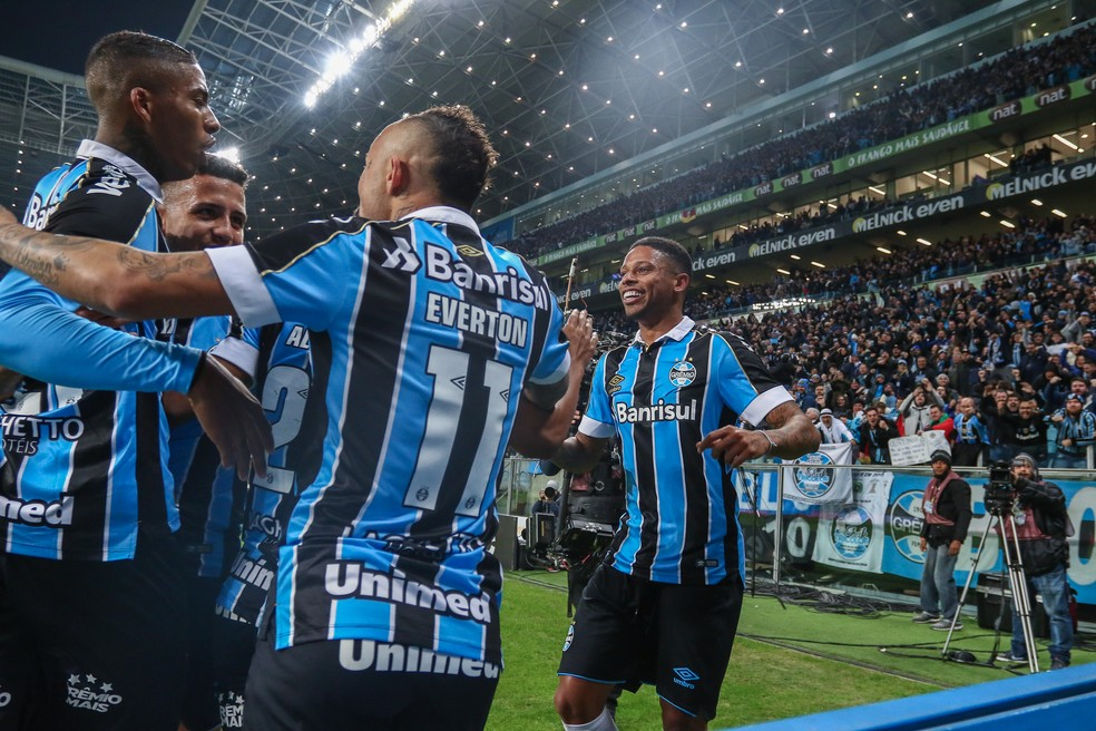 Grêmio comemora vitória na Copa do Brasil — Foto: Lucas Uebel/Grêmio