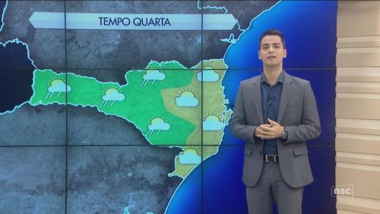 Com o avanço de frente fria, quarta-feira tem previsão de chuva em SC