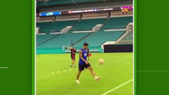 Golaço de Suárez e o ninja brasileiro Arthur ganham destaque no treino do Barcelona