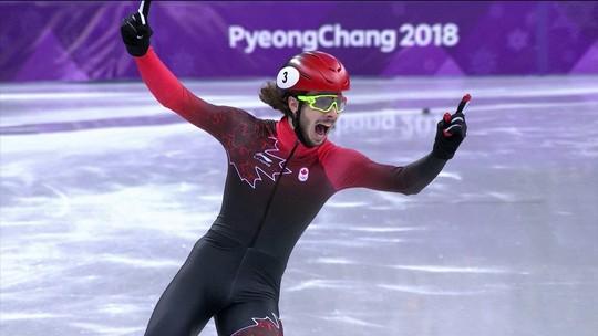 Canadense se aproveita de queda e leva ouro nos 1000m na patinação velocidade curta