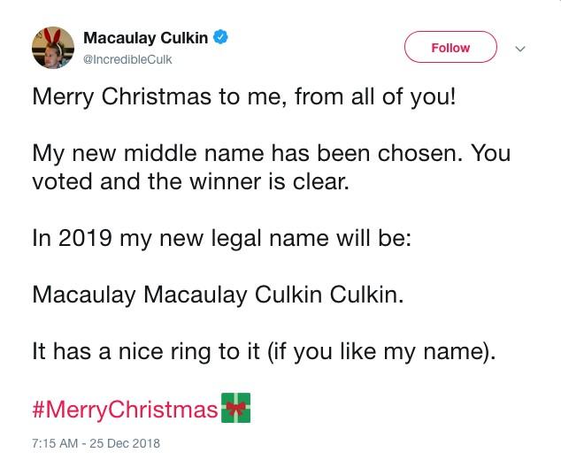 O post feito ator anteriormente conhecido como Macaulay Culkin e agora rebatizado de Macaulay Macaulay Culkin Culkin no qual ele anuncia seu novo nome  (Foto: Twitter)
