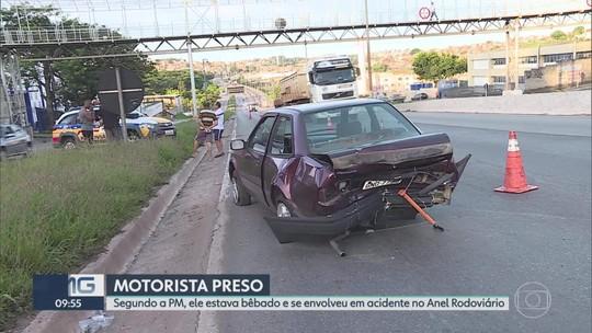Motorista bêbado é preso após se envolver em acidente no Anel Rodoviário de BH
