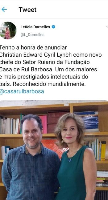 O cientista político Christian Lynch com a presidente da Casa de Rui Barbosa, Letícia Dornelles