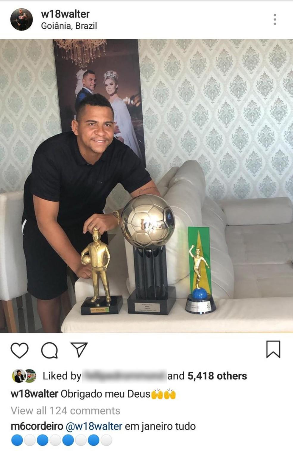 Marcelo Cordeiro comentou postagem de Walter e aumentou rumores de chegada ao São Bento — Foto: Reprodução/Instagram
