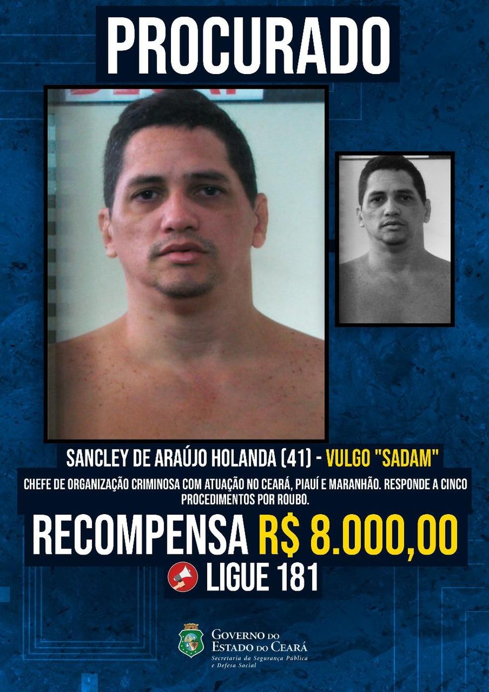 Foragido procurado pela polícia do Ceará. — Foto: Divulgação/ SSPDS