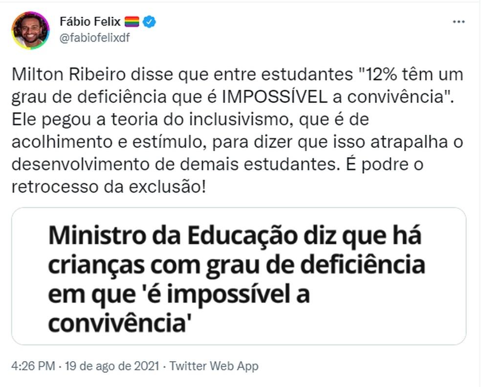 Deputado Fábio Felix critica fala de ministro — Foto: Reprodução/Twitter