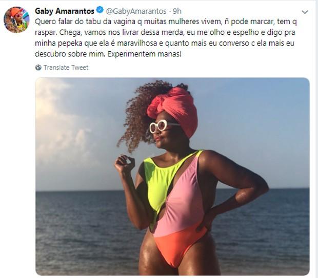 Publicação de Gaby Amarantos (Foto: Reprodução/Twitter)
