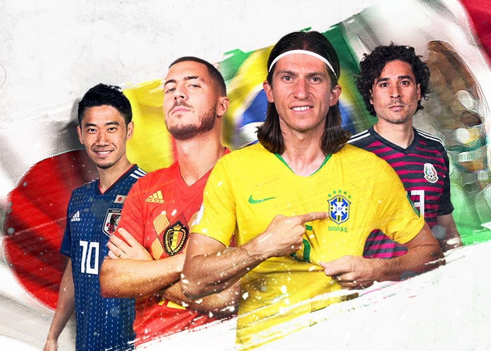 Brasil encara o México e Bélgica e Japão se enfrentam (Foto: Infografia: Editoria de Arte/GloboEsporte.com)