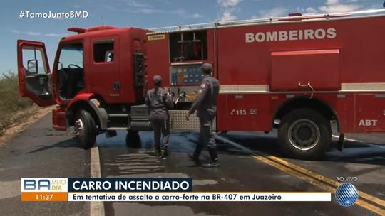 Grupo tenta assaltar carro-forte na BA, queima carro de passeio e atravessa dois caminhões na fuga