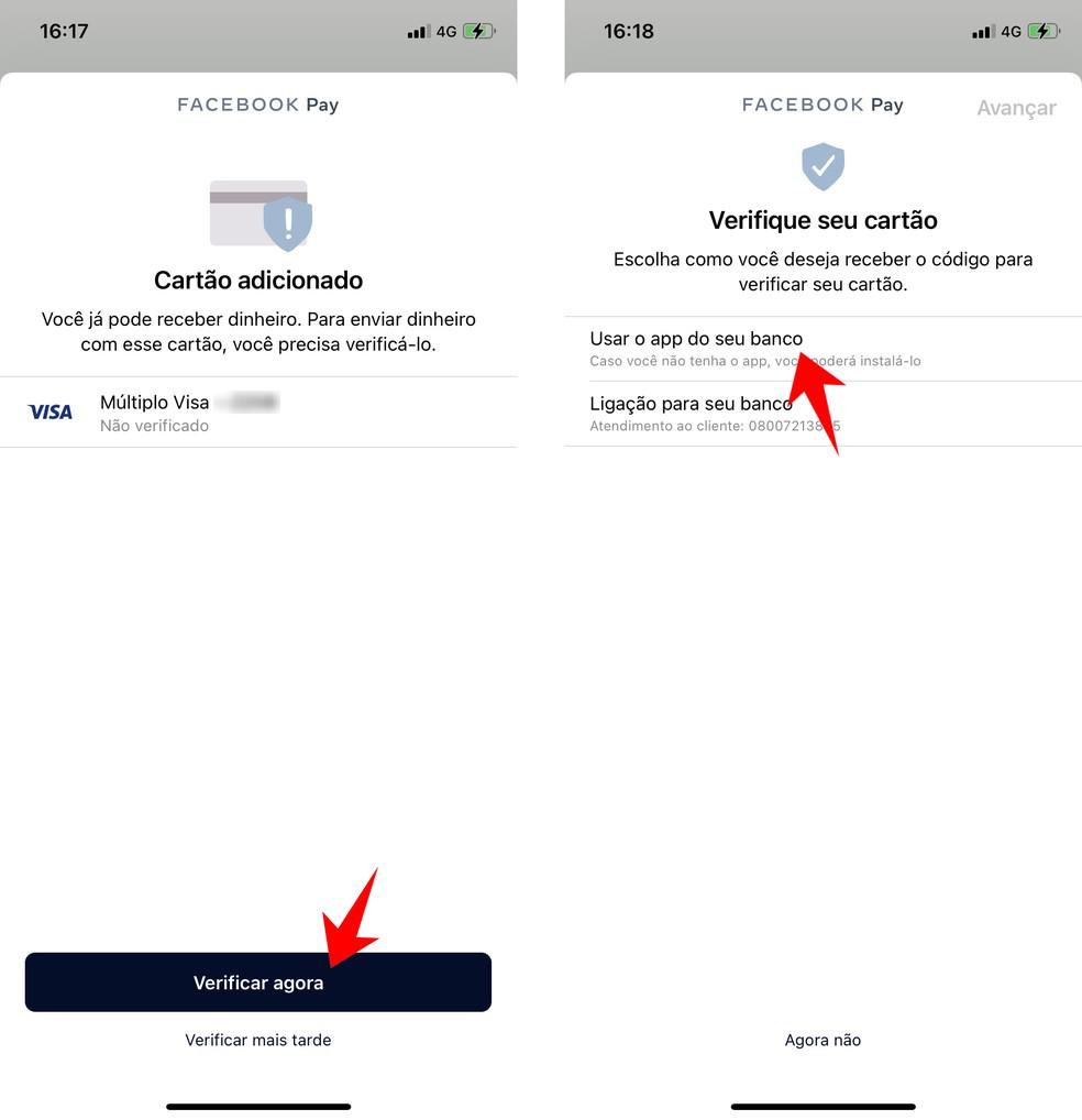 WhatsApp pede que cartão seja validado junto ao banco antes de liberar o envio de dinheiro — Foto: Reprodução/Rodrigo Fernandes