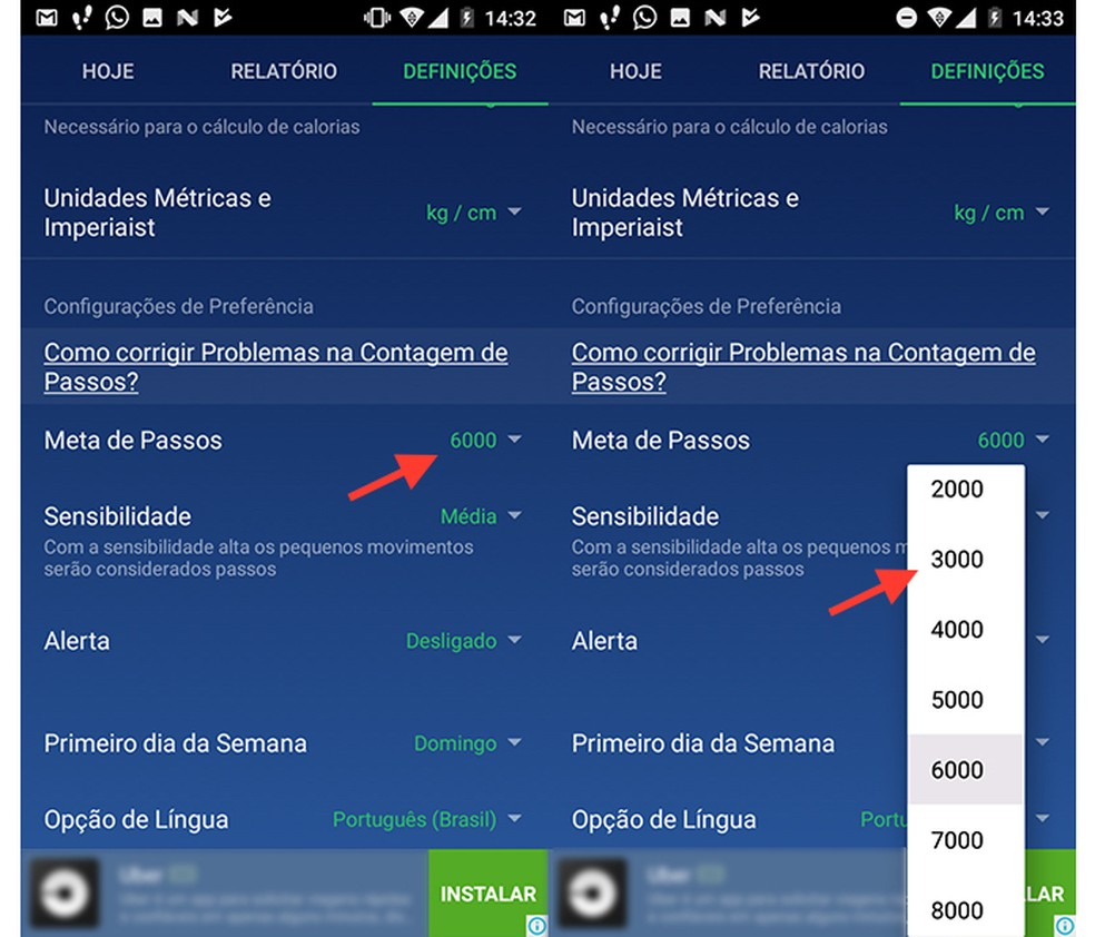 Ação para mudar a meta de passos no app Pedômetro (Foto: Reprodução/Marvin Costa)