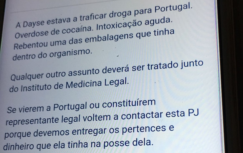 E-mail enviado pela polícia de Portugal diz que Deyse  teve intoxicação aguda (Foto: Reprodução)