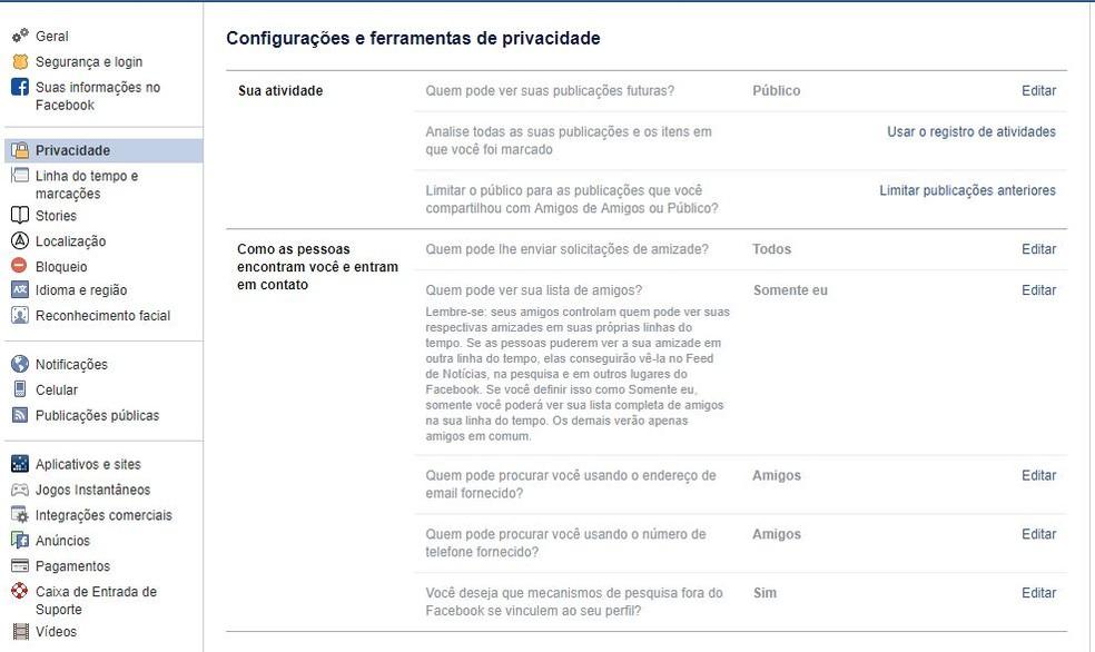 Veja as ferramentas de controle de privacidade que o Facebook oferece — Foto: Reprodução