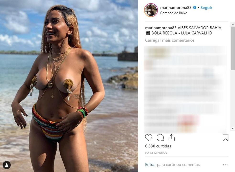 Anitta grava clipe de biquíni minúsculo em Salvador — Foto: Reprodução/Instagram