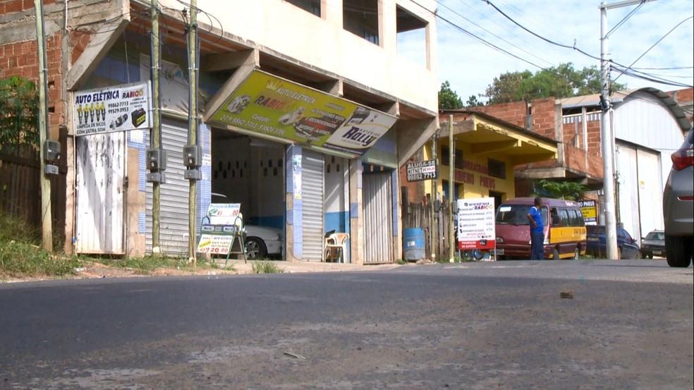 Local onde aconteceu o crime, em Nova Rosa da Penha — Foto: Reprodução/TV Gazeta