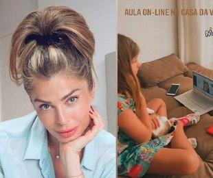 Grazi Massafera mostra Sophia na aula on-line   Reprodução