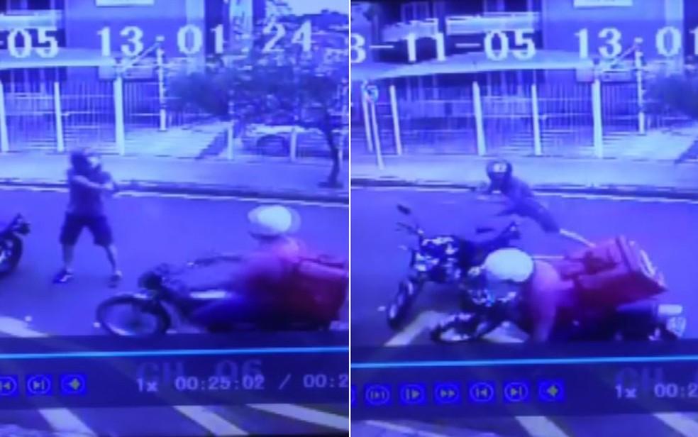 Entregador foi morto a tiros no meio da rua em Barretos, SP — Foto: Reprodução/Câmeras de segurança