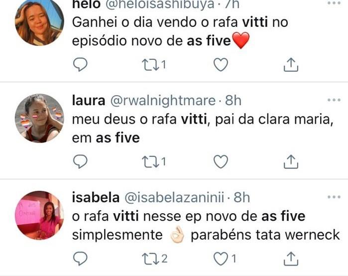 Internautas comentam participação de Rafael Vitti em 'As five' (Foto: Reprodução)