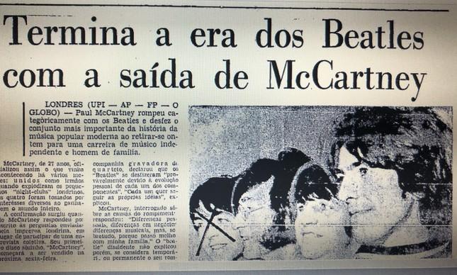 Página da edição do GLOBO 11 de abril de 1970