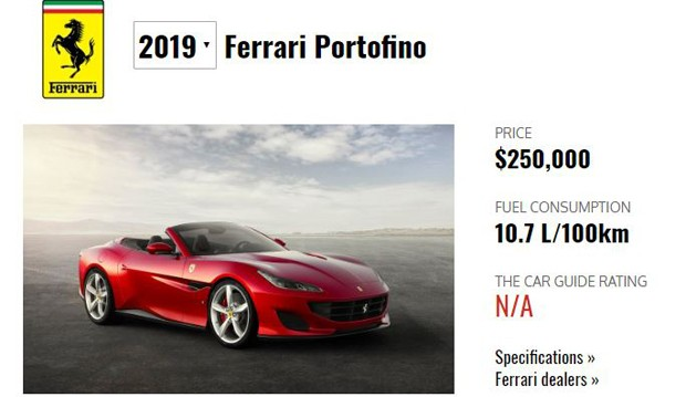 Carro da marca Ferrari, modelo Portofino: Avaliado em R$ 968 mil (Foto: Reprodução )