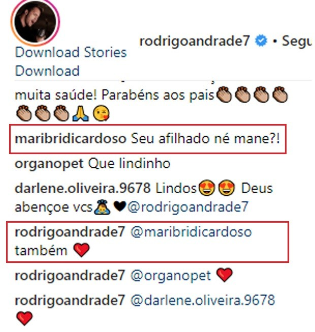 Rodrigo Andrade foi escolhido para se padrinho de Valentim, filho de Rafael Cardoso e Marti Bridi (Foto: Reprodução/Instagram)