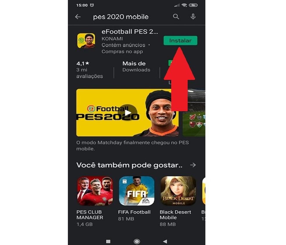 O recomendado é que o download de PES 2020 Mobile seja feito com uma conexão Wi-Fi — Foto: Reprodução/Carlos Palmeira