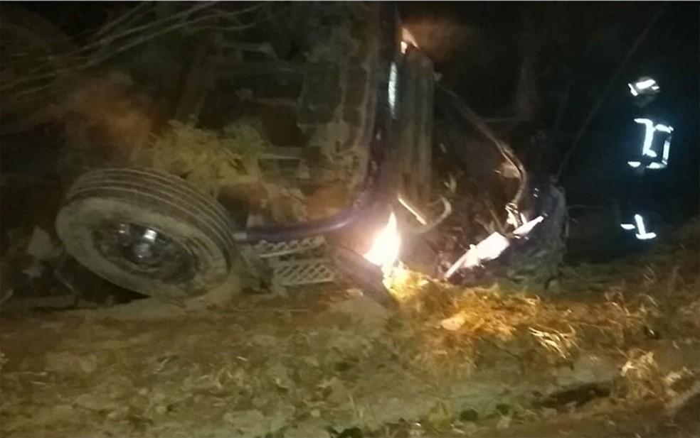 Caso ocorreu na BR-135, em trecho próximo a Barreiras — Foto: Reprodução/TV Bahia