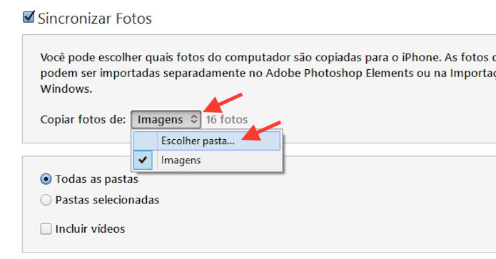 Definindo quais pastas de fotos ser?o sincronizadas com o iPhone atrav?s do iTunes (Foto: Reprodu??o/Marvin Costa)