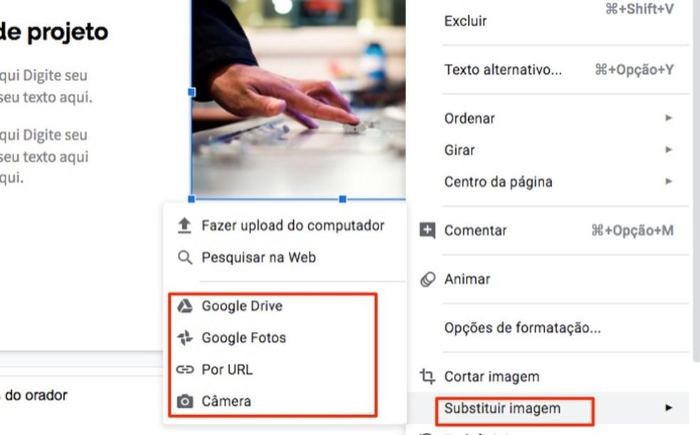 Ação para substituir imagens em um modelo de perfil profissional criado no Google Forms — Foto: Reprodução/Marvin Costa