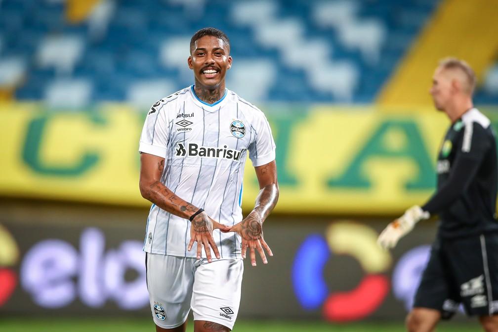 Jean Pyerre em vitória do Grêmio — Foto: Lucas Uebel/Grêmio