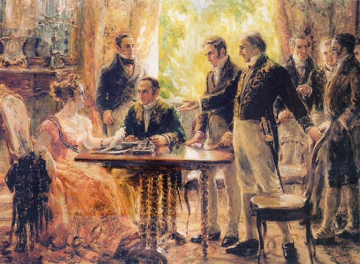 Pintura mostra Leopoldina presidindo a reunião do Conselho de Ministros em 2 de setembro de 1822 (Foto: Wikimedia Commons )