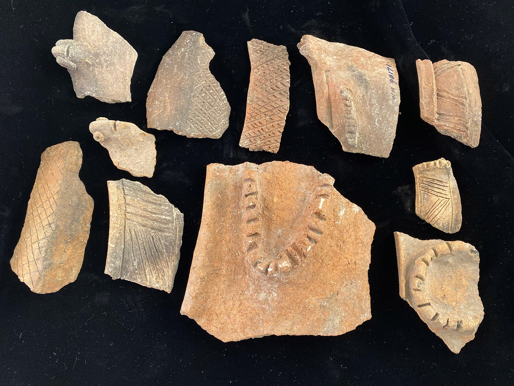 Descobertas foram confirmadas por evidências arqueológicas anteriores. Acima, pedaços de cerâmica encontrados na região (Foto: WILLIAM KEEGAN/Nature)