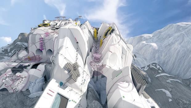 A região dos Alpes foi escolhida pela sua semelhança com o clima de Marte. (Foto: Divulgação/Dezeen)