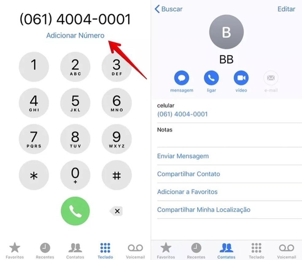 Adicione o número do Banco do Brasil aos seus contatos — Foto: Reprodução/Helito Beggiora