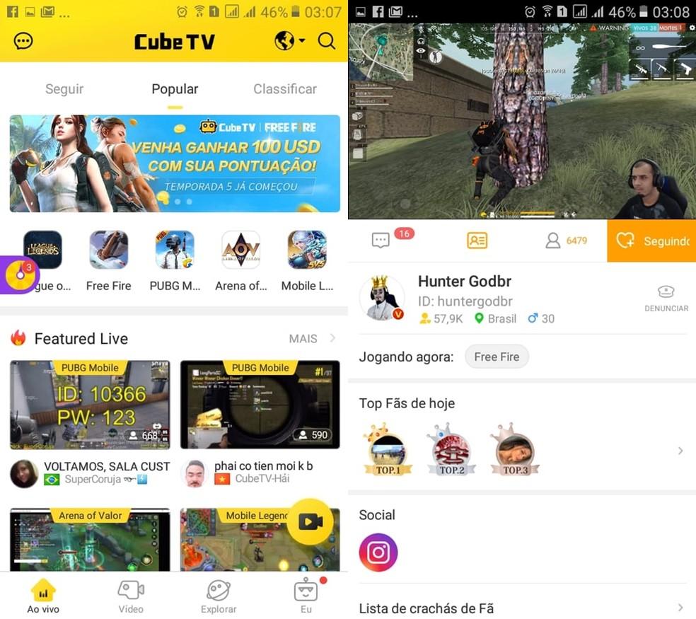 App da Cube TV tem navegação um pouco confusa — Foto: Reprodução/Bruna Telles