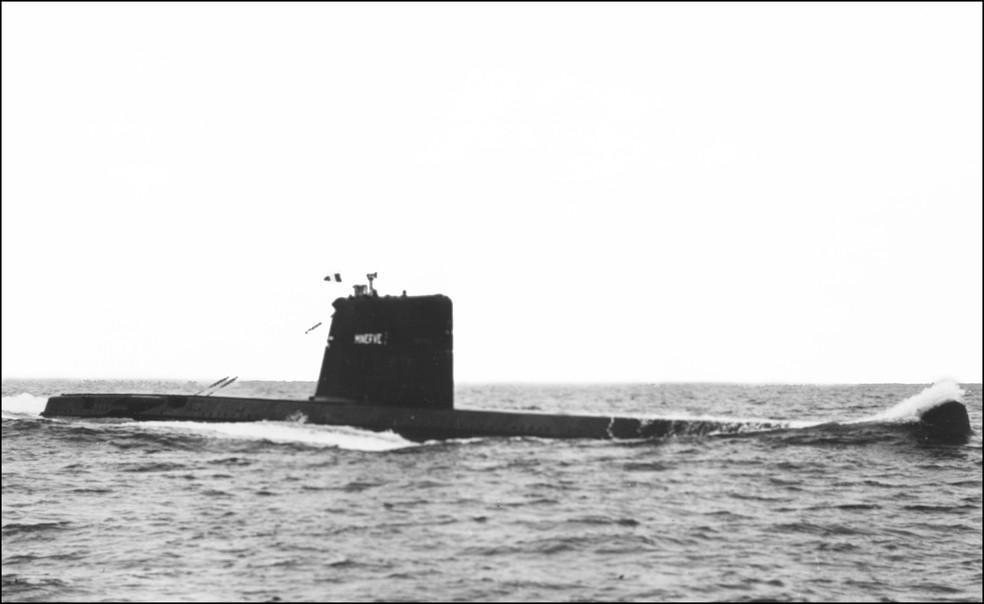 """O submarino francês """"La Minerve"""", em foto não datada. — Foto: STF/AFP"""