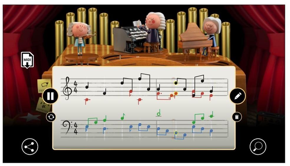 Doodle do Google celebra Johann Sebastian Bach com interação com usuário para criação de música — Foto: Reprodução/Google