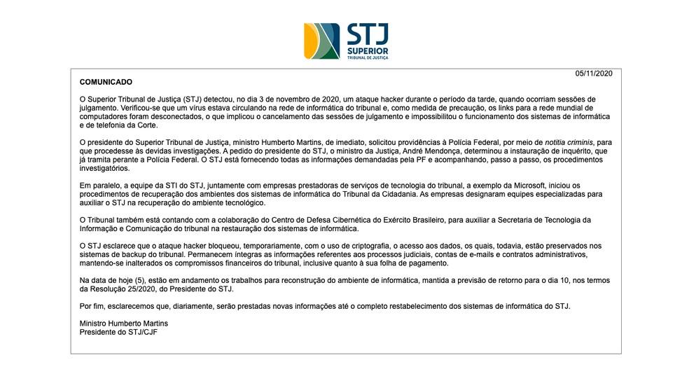 STJ emitiu nota sobre ataque cibernético que permanece sem solução — Foto: Reprodução/STJ