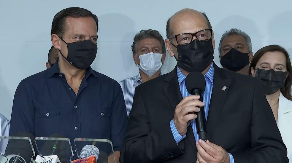 Dimas Covas, diretor do Instituto Butantan, em coletiva de imprensa no Hospital das Clínicas de Ribeirão Preto — Foto: Fábio Júnior/EPTV