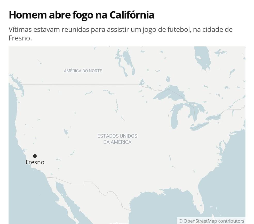 Homem abre fogo contra grupo que assistia jogo de futebol em Fresno, na Califórnia, nos EUA — Foto: G 1