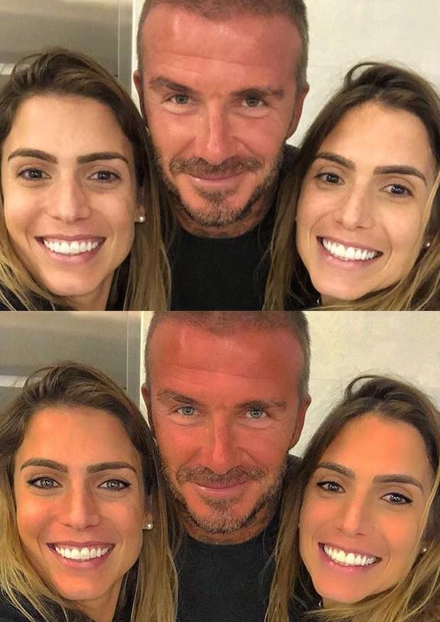 Bia e Branca Feres com David Beckham, com e sem edição (Foto: Reprodução/Instagram)