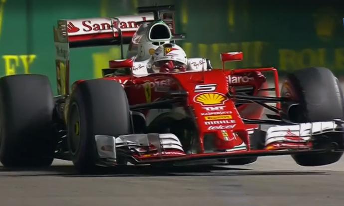 Sebastian Vettel no treino classificatório para o GP de Cingapura (Foto: Reprodução)