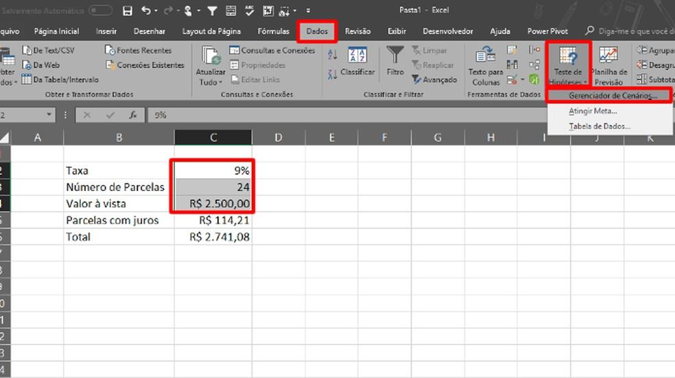 Marque os valores variáveis na tabele e clique nos comandos em destaque na imagem (Foto: Reprodução/Daniel Ribeiro)