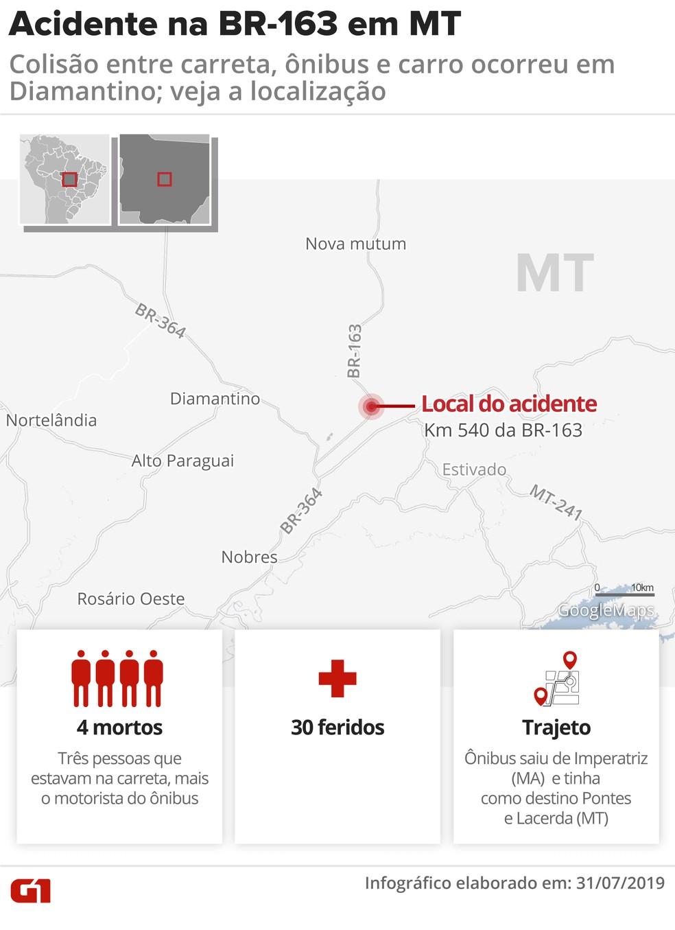 Mapa mostra local onde ocorreu o acidente que matou 4 pessoas em Diamantino (MT) — Foto: Juliane Souza/G1