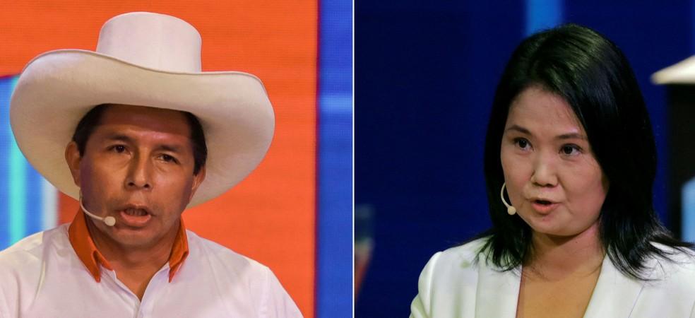 Pedro Castillo, do partido Perú Libre, e Keiko Fujimori, do partido Força Popular, candidatos à presidência do Peru — Foto: Sebastian Castañeda/Pool/AFP