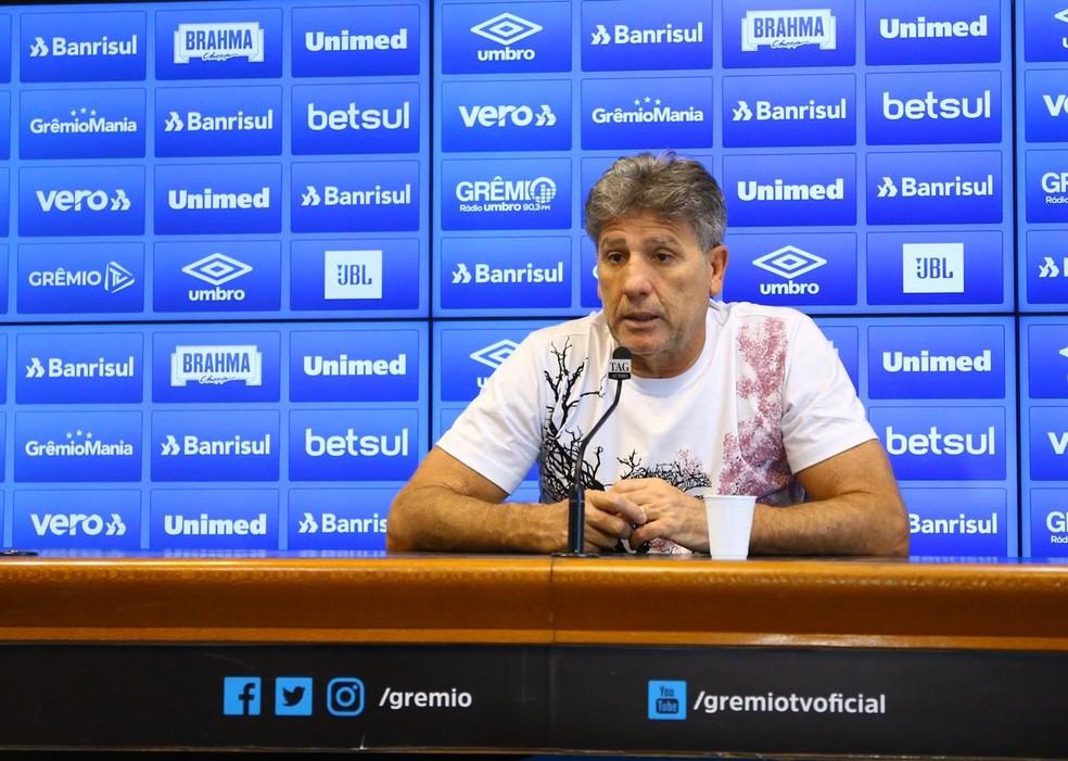 Renato Portaluppi concede entrevista no Grêmio — Foto: Lucas Uebel/Grêmio