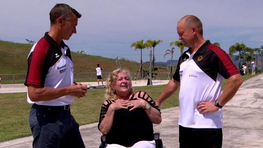 Receptora do coração de técnico alemão da Rio 2016 se emociona ao conhecer esporte do doador