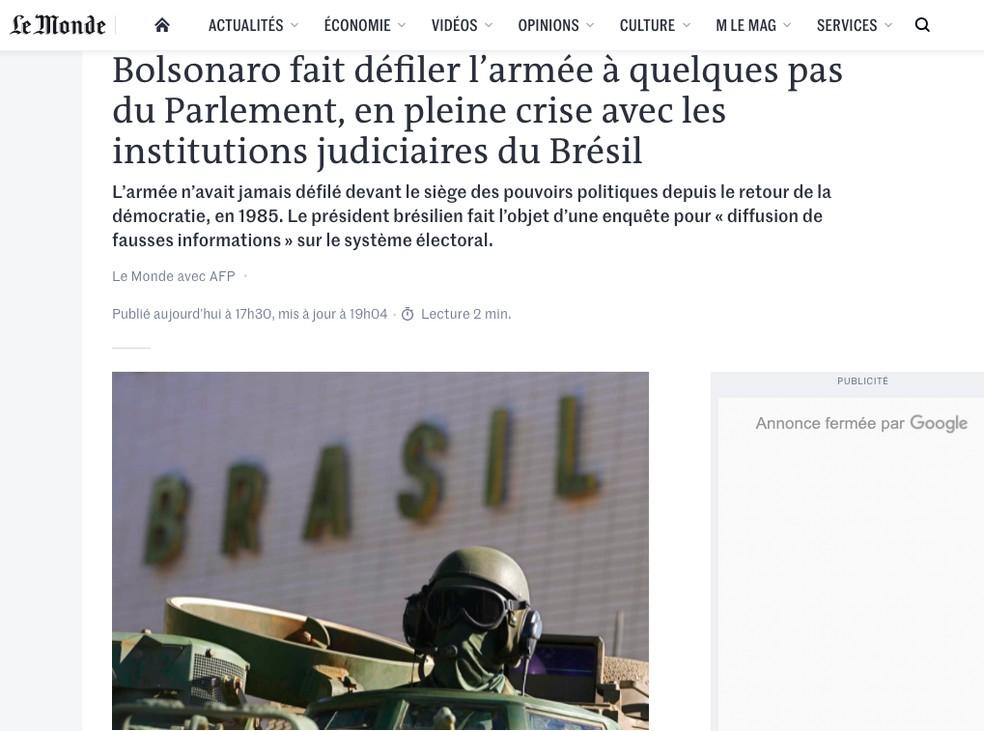 Le Monde (França) sobre ato militar na Praça dos Três Poderes — Foto: Reprodução