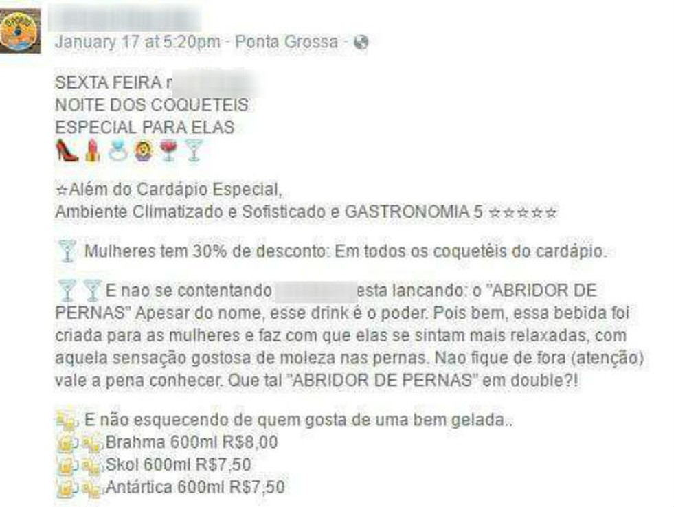 Pizzaria faz oferta de drink 'abridor de pernas' para mulheres e é criticada (Foto: Reprodução/Facebook)